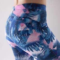 Legging danse fitness femme bleu à imprimés