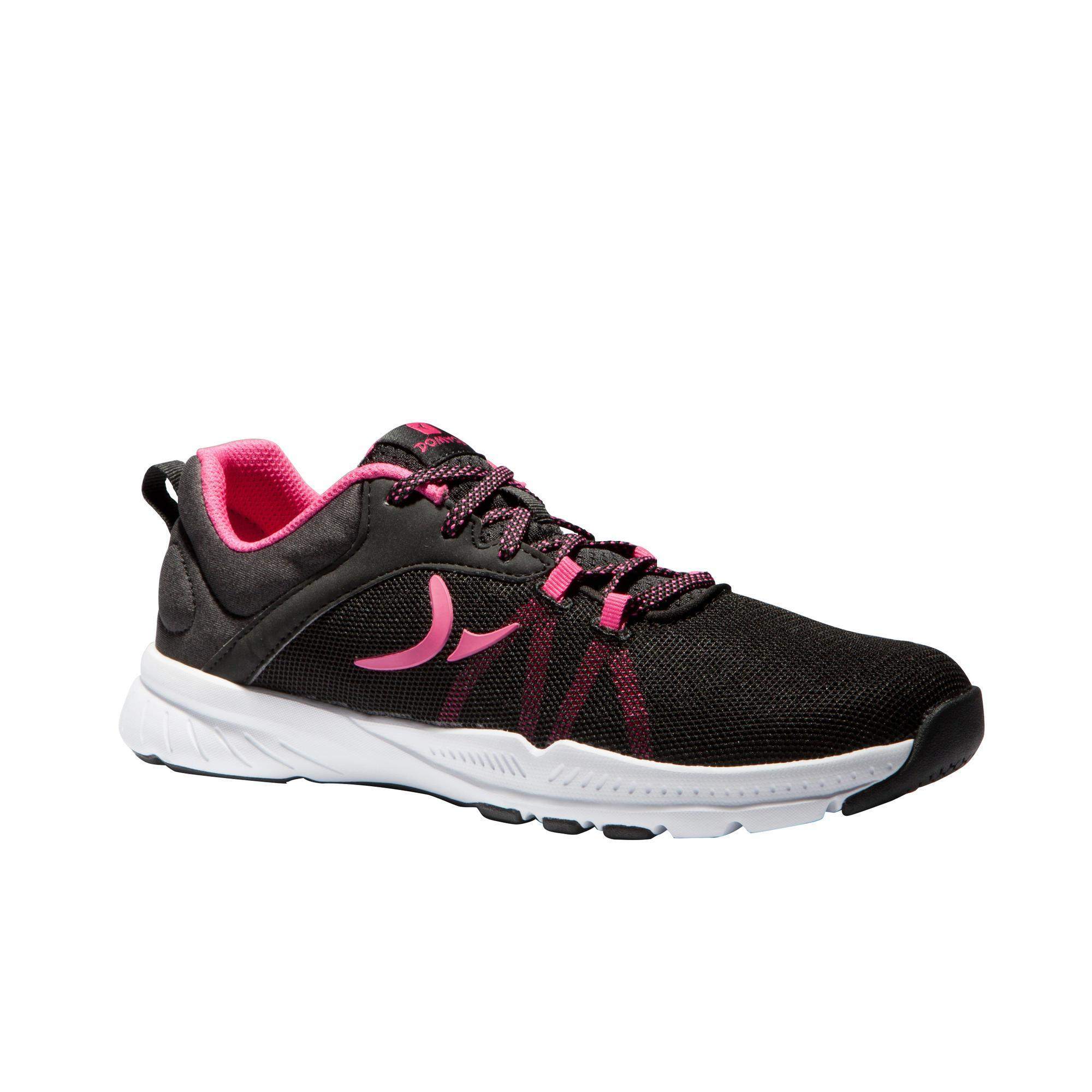 Chaussures cardio fitness training femme 100 noir et rose domyos