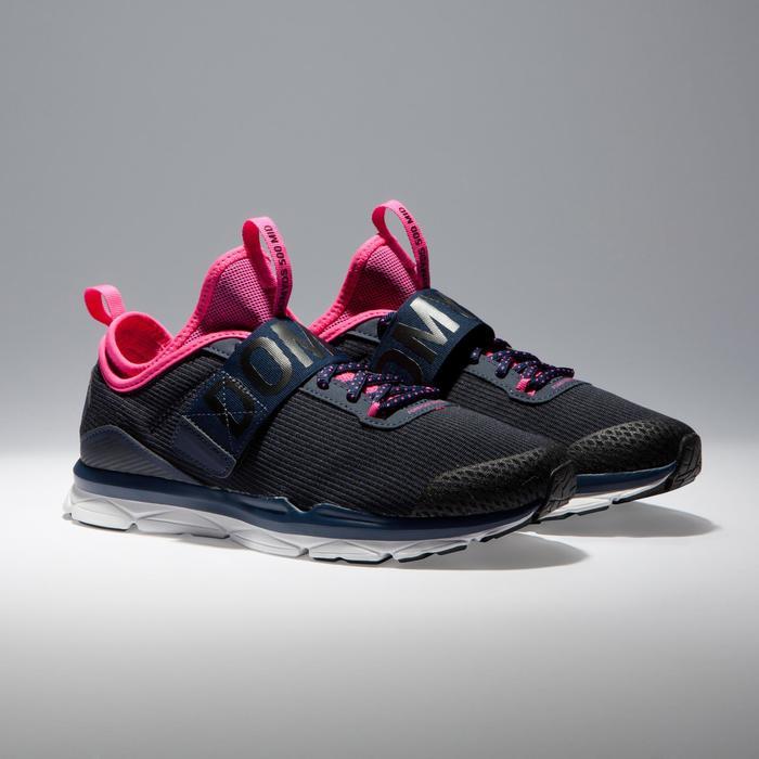 Chaussures fitness cardio-training  500 mid femme bleu et rose - 1341020