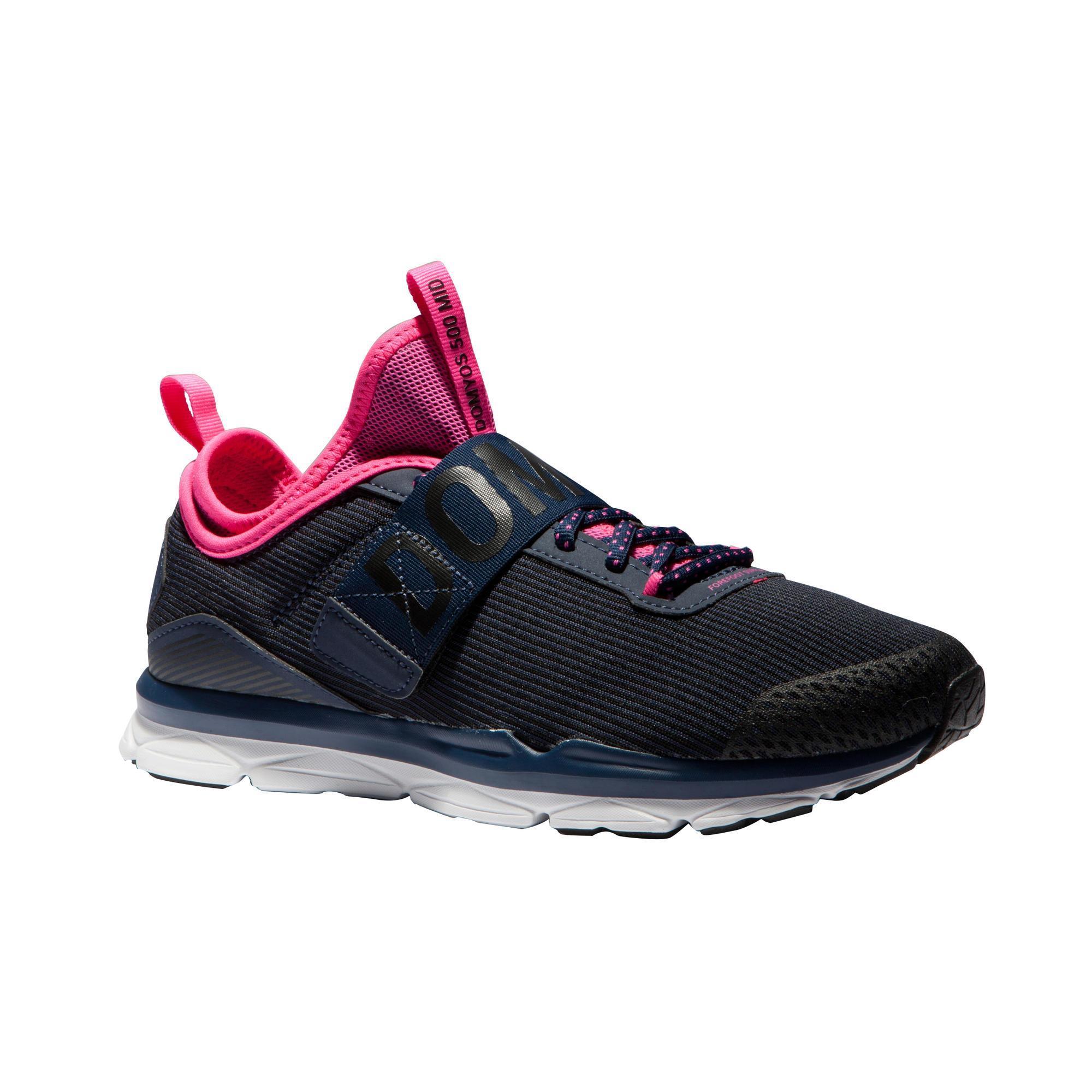 Zapatillas fitness cardio-training 500 mid mujer azul y rosa Domyos ... 971bb751299