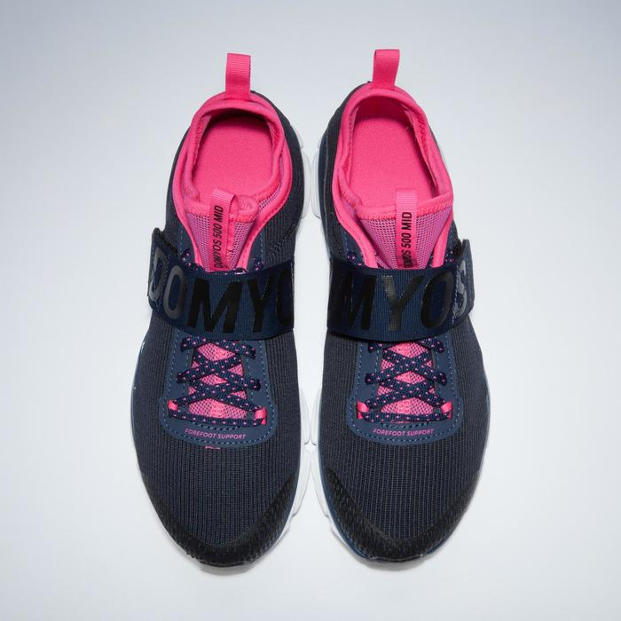 Chaussures fitness cardio-training  500 mid femme bleu et rose - 1341129