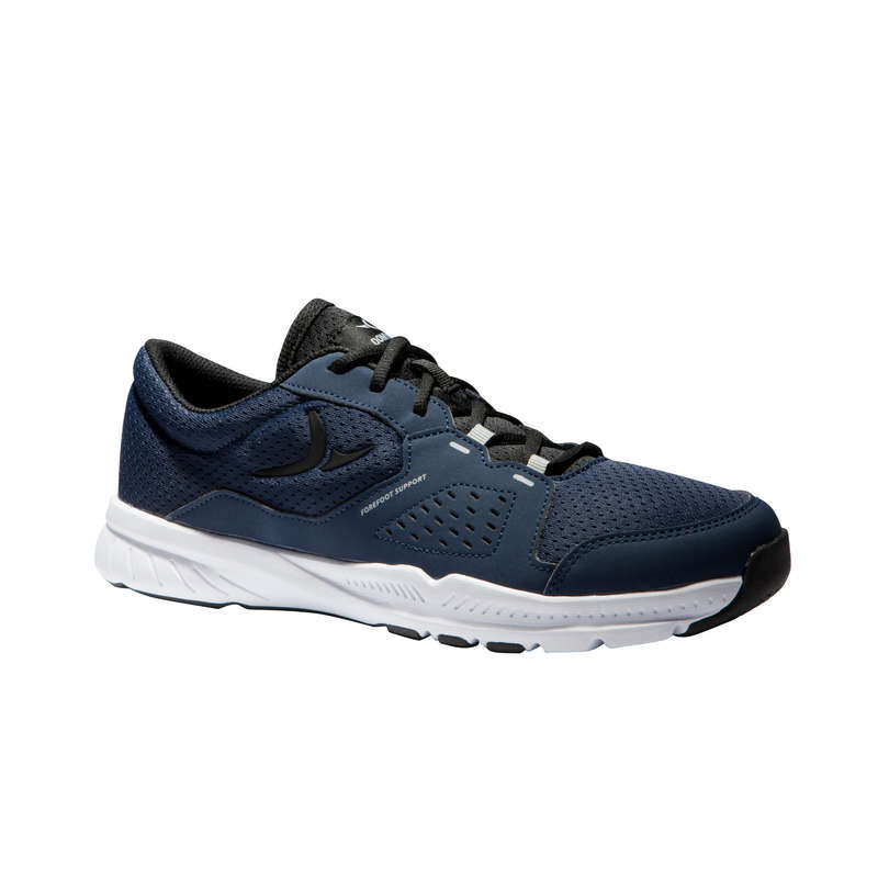 FITNESS CARDIO SHOES MAN Fitness and Gym - 100 Shoes - Black/Blue DOMYOS - Gym Activewear