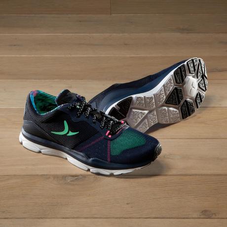 397c85ff5f Chaussures fitness cardio 500 femme bleu et vert   Domyos by Decathlon