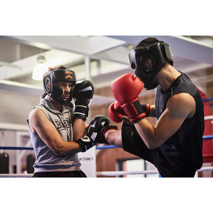 500 Adult Boxing Full Face Training Head Guard - Black