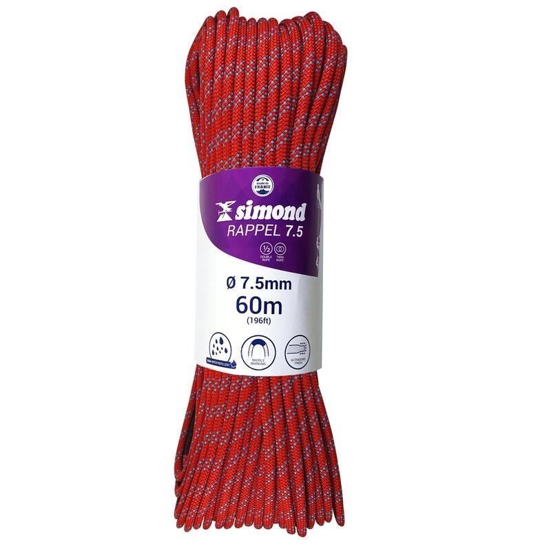 Mezza corda alpinismo RAPPEL 7.5mm x 60m rossa