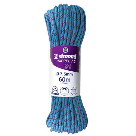 Double dry climbing and mountaineering rope 7.5 mm x 60 m - RAPPEL 7.5 Blue
