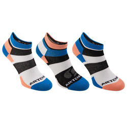RS 160 Trendy Mid Racquet Sports Socks Tri-Pack - Blue/Coral
