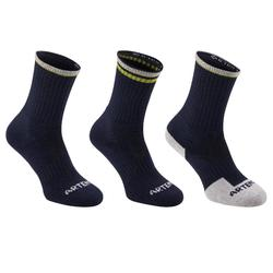 RS 500 Adult High Sport Socks 3-Pack - Black/Yellow