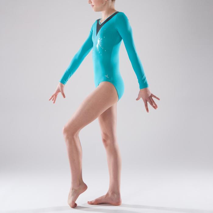 Maillot de manga larga gimnasia femenina turquesa lentejuelas