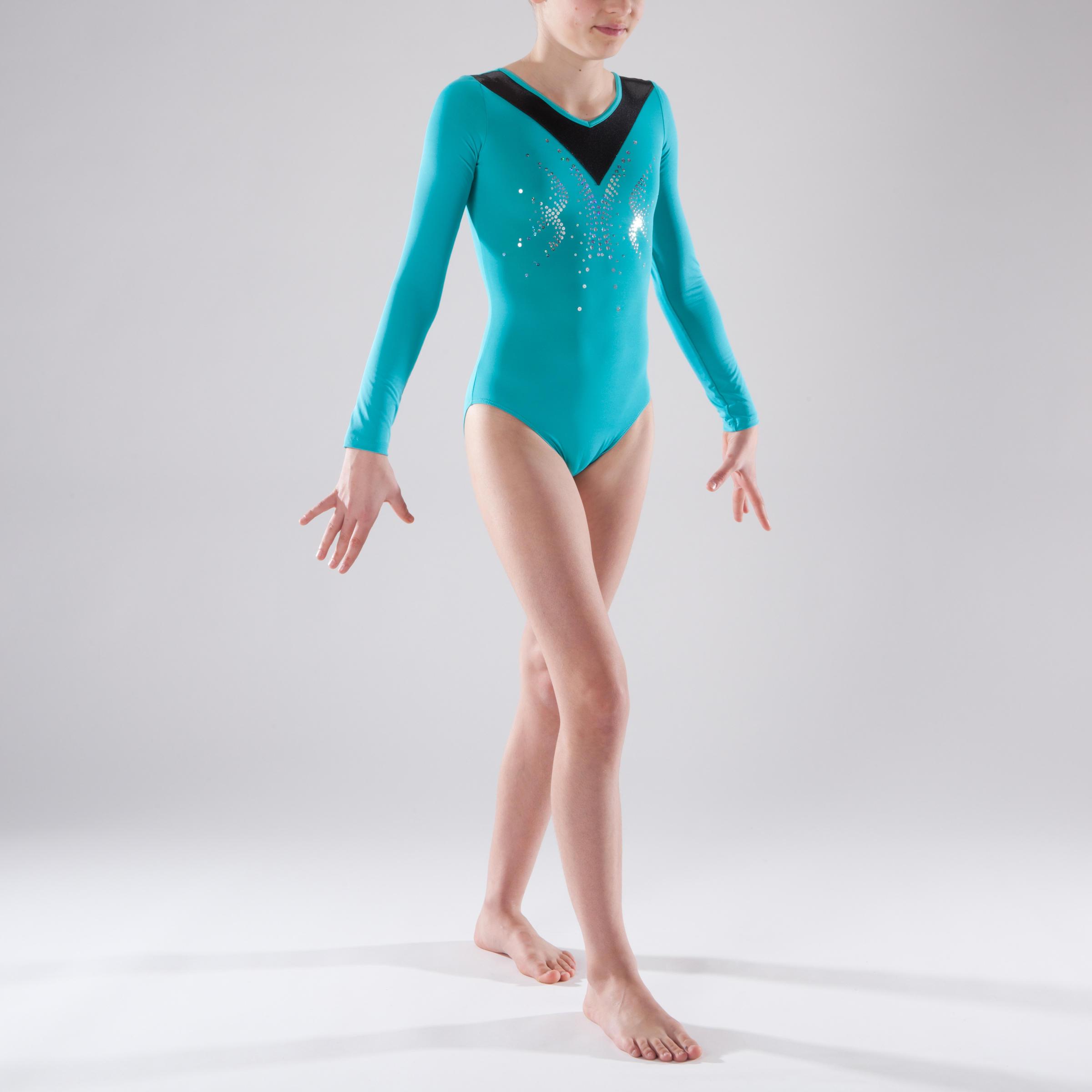 Leotardo de manga larga gimnasia femenina turquesa lentejuelas