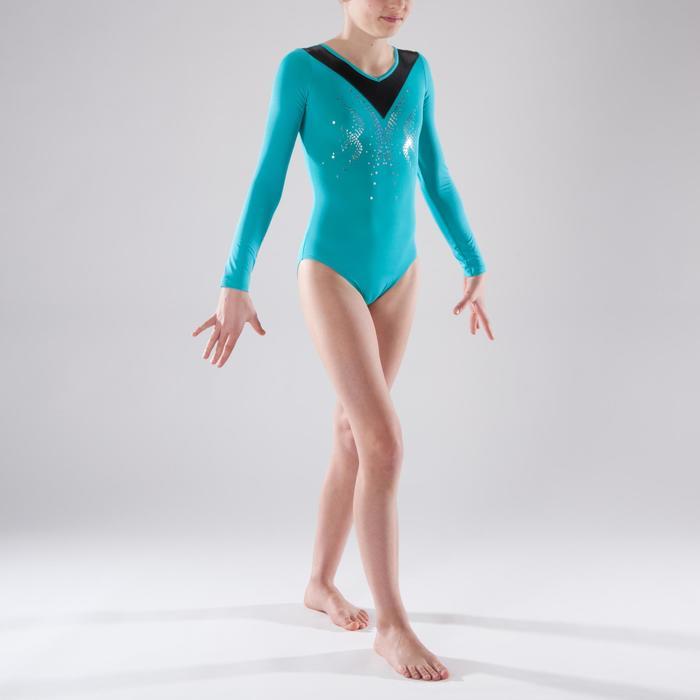 Justaucorps manches longues Gymnastique Féminine sequins - 1341582