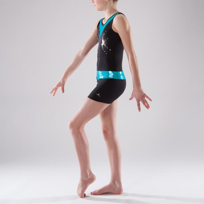 Gymshorty meisjes (toestelturnen en RG) met glitters zwart/turkoois