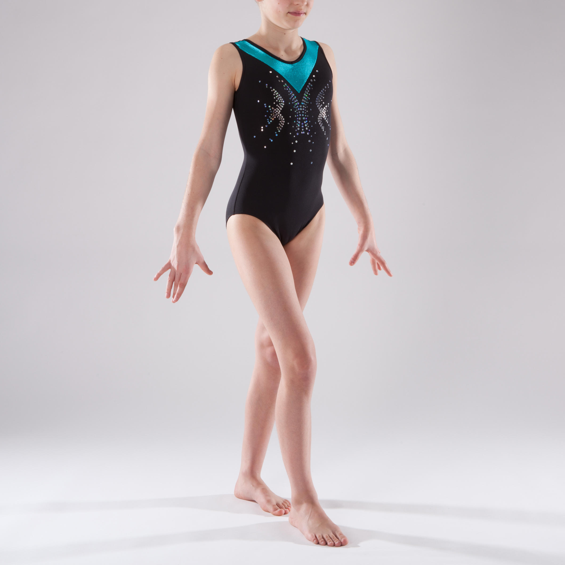 Girls' Sleeveless Gym Leotard - Black/Turquoise/Sequins