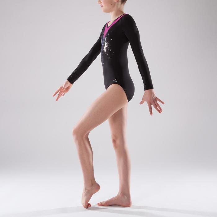Maillot de manga larga gimnasia femenina negro/rosa lentejuelas