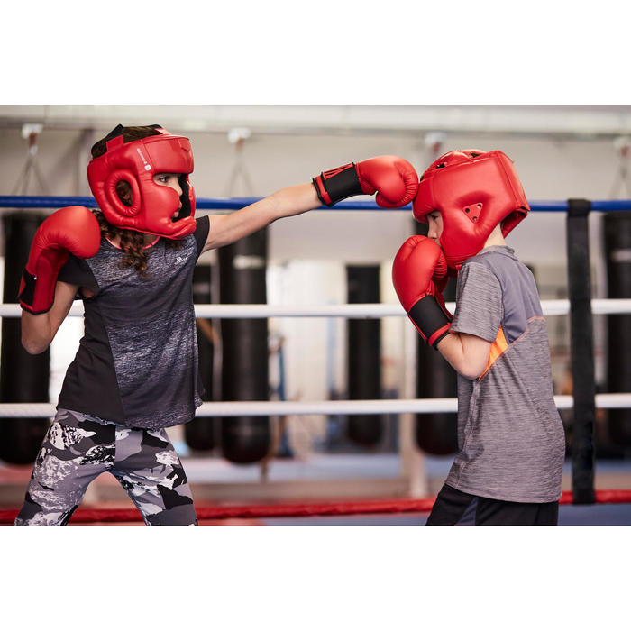 Open face hoofdbeschermer voor training en wedstrijden rood