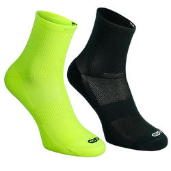 Confort children's athletics socks high pack of 2 turquoise fluo yellow black