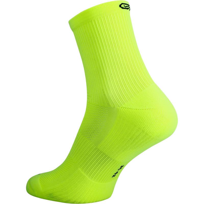 Confort children's athletics socks high pack of 2 turquoise fluo yellow black