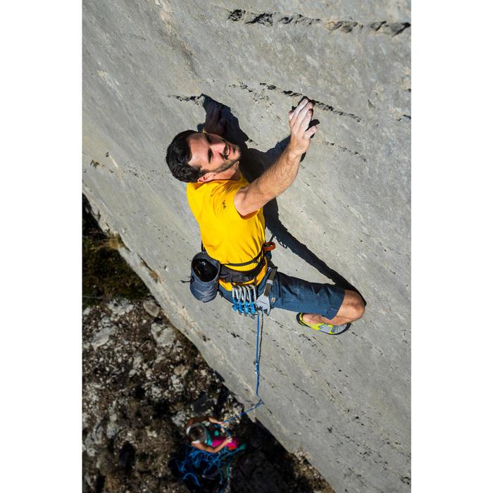Driekwartbroek voor klimmen heren stretch biokatoen grijs