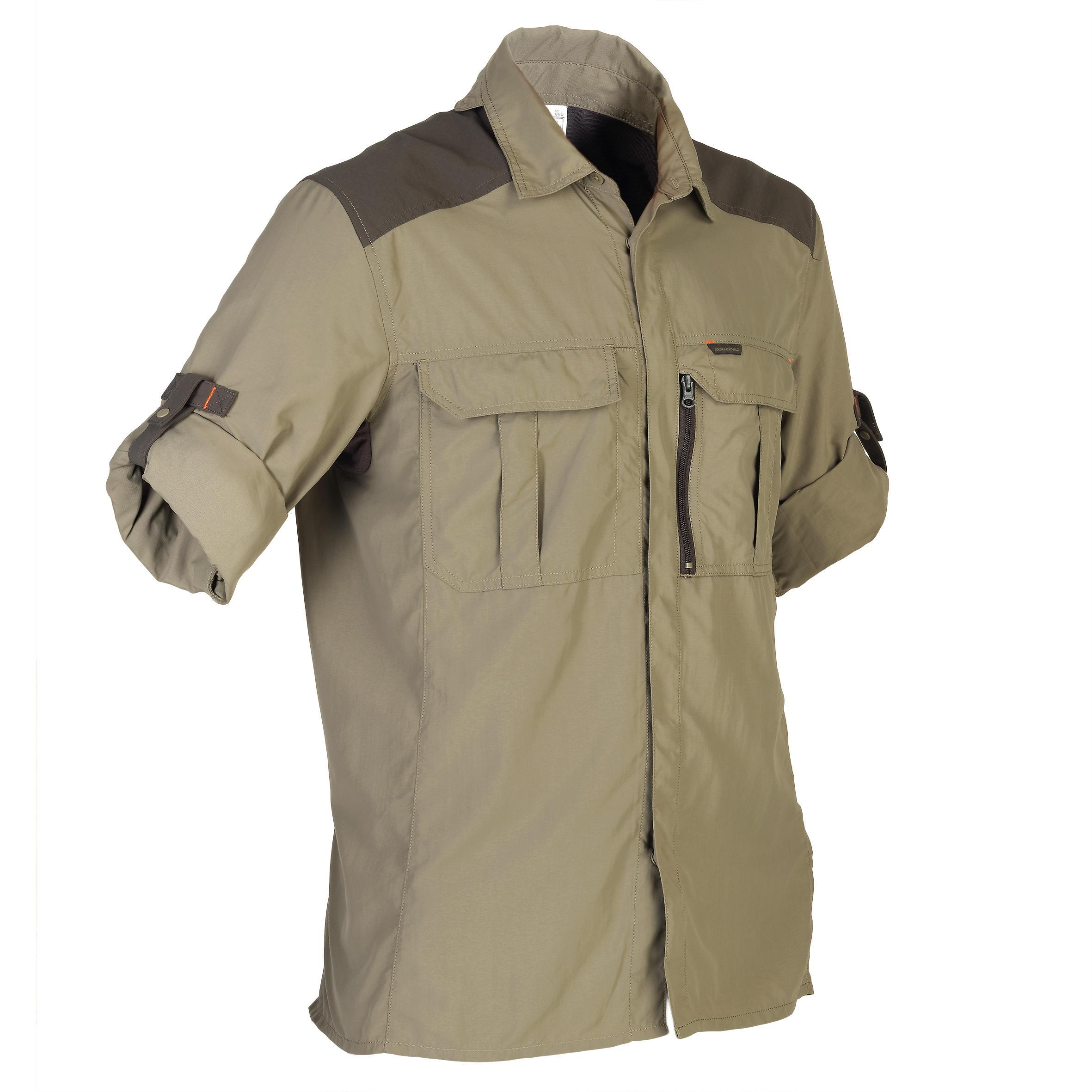 Solognac Jachthemd voor heren lange mouw kaki SG900LMH