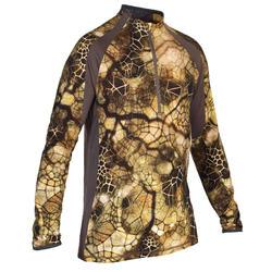 Camiseta Caza Solognac Bgs Silenciosa Transpirable Lana Merina Camuflaje Sigilo