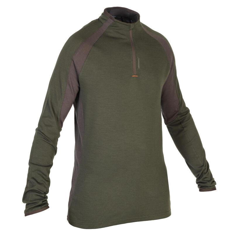 Camiseta Caza Solognac 900 Hombre Manga Larga Lana Merino Verde