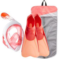 Kit Snorkel Subea SNK Máscara Easybreath Aletas Adulto Rosa Coral Naranja