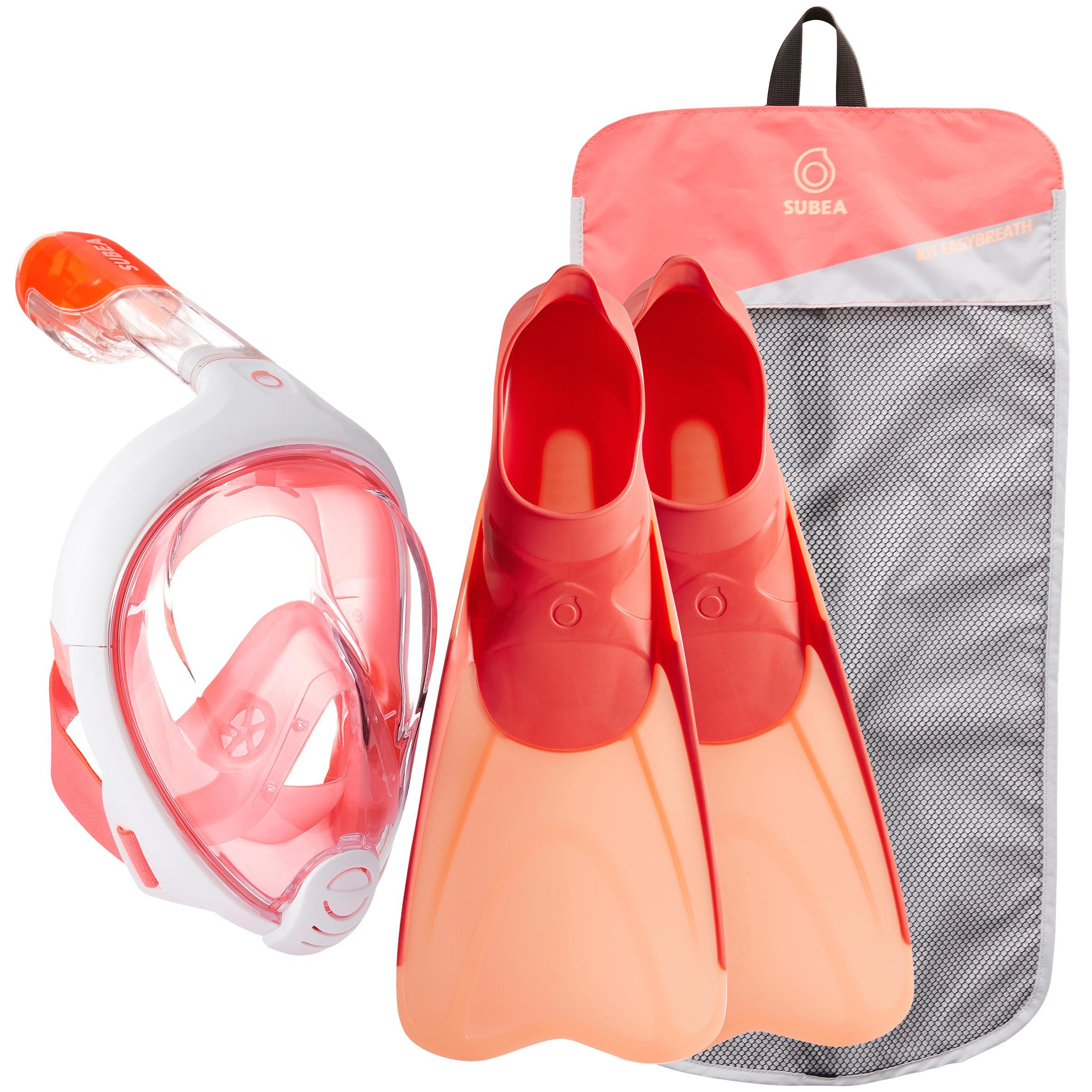 Subea Snorkelset Easybreath en snorkelvinnen koraal roze kopen