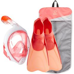 Kit de snorkeling masque Easybreath palmes corail rose