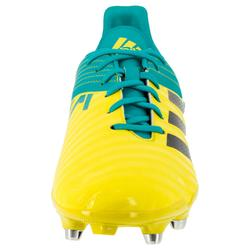 Chaussure rugby adulte hybride Malice SG jaune/verte