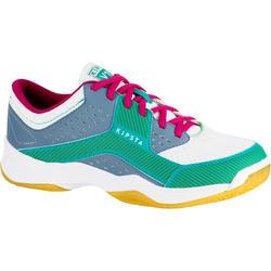 Zapatillas Voleibol Allsix V100 Azul Verde Mujer