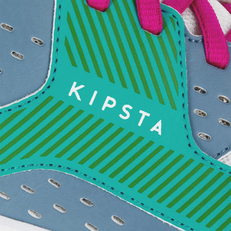Chaussures de volleyball V100 femme bleu et vert
