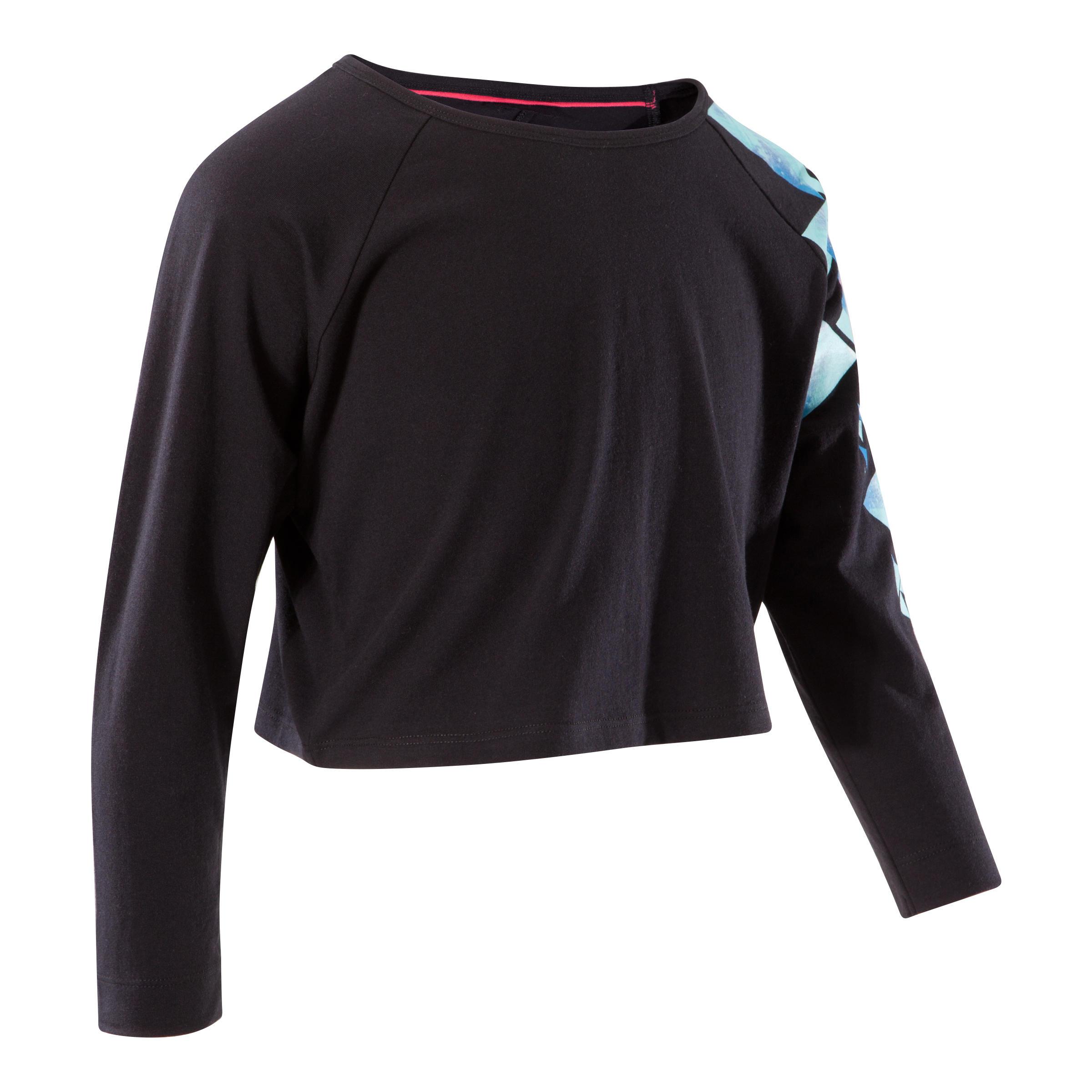 Girls' Loose Short Long-Sleeved Dance T-Shirt - Black