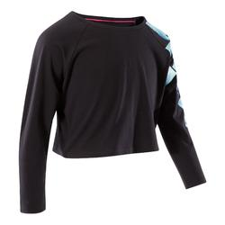 T-shirt manches longues de danse, court et ample, fille noir.