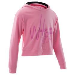Sudadera de danza con capucha niña rosa fluo