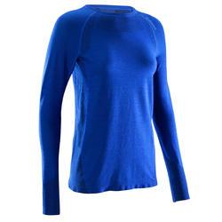 T-shirt manches longues SEAMLESS laine 40 % FEMME Bleu
