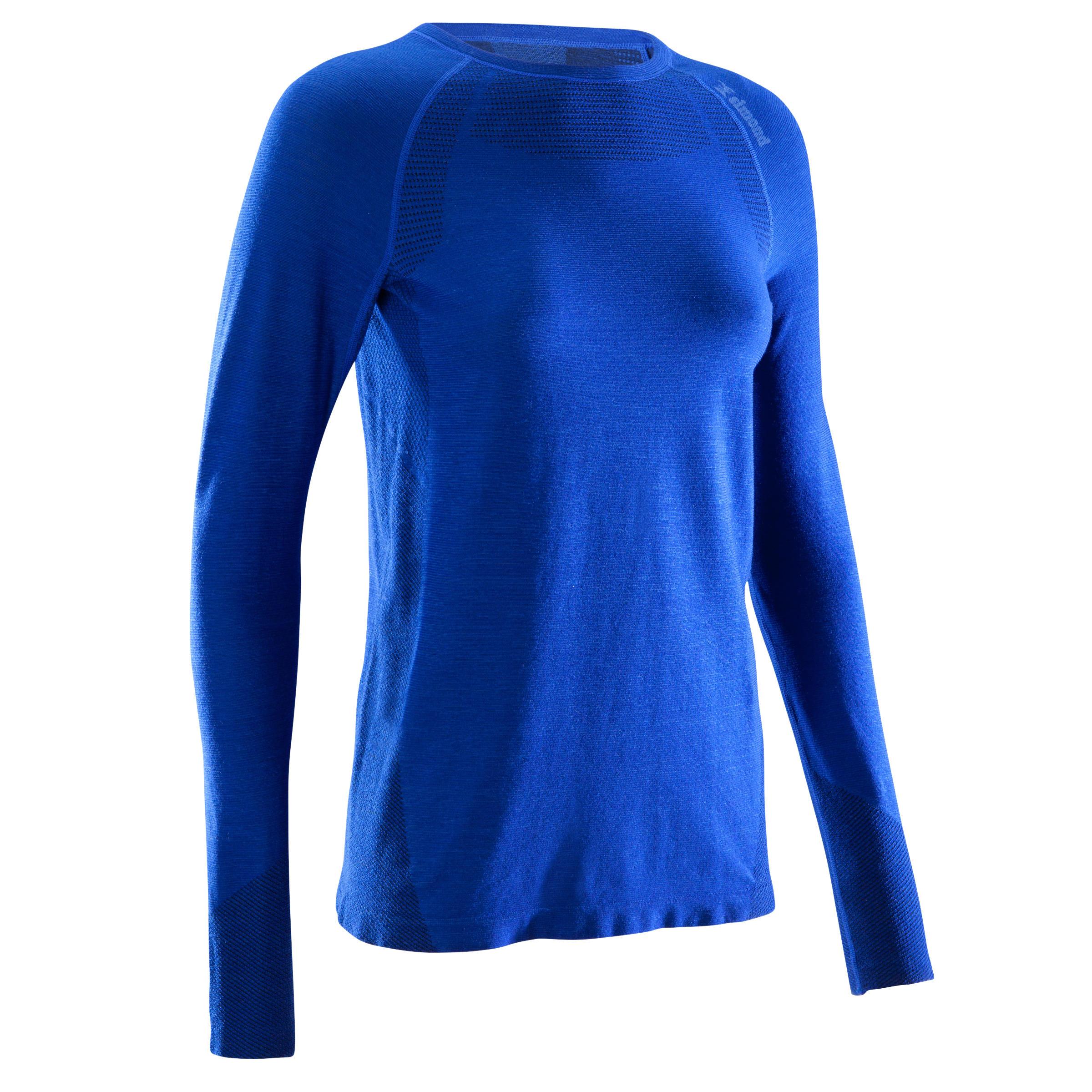 Funktionsshirt langarm Seamless 40% Wolle Damen blau | Bekleidung > Shirts > Funktionsshirts | Simond