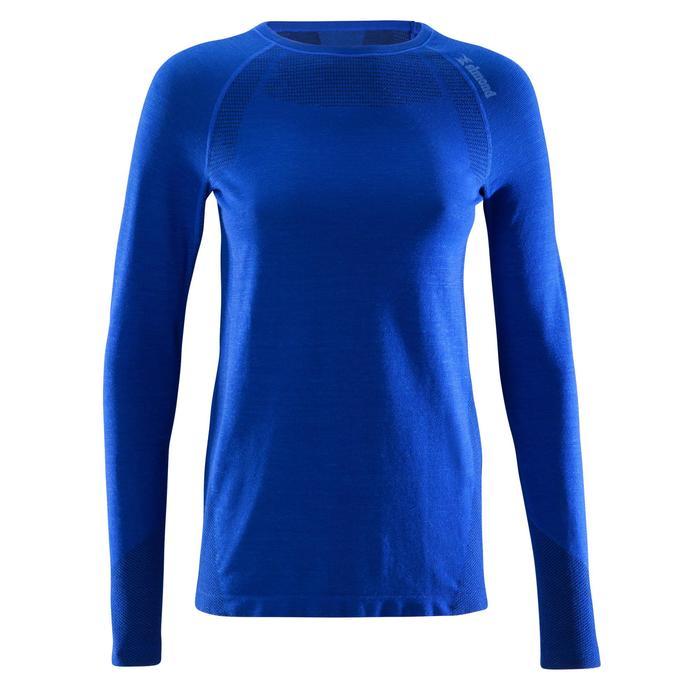 Naadloos damesshirt wol lange mouwen Alpinism blauw