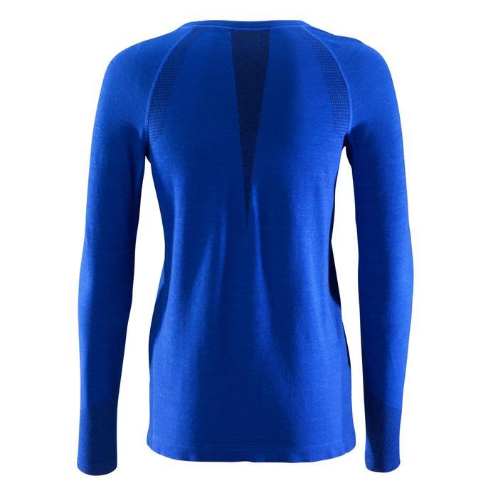 Damesshirt met lange mouwen SEAMLESS 40% wol blauw