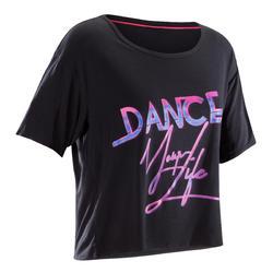 女款舞蹈短版T恤 - 黑色
