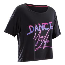 Women's Cropped Dance T-Shirt - Black