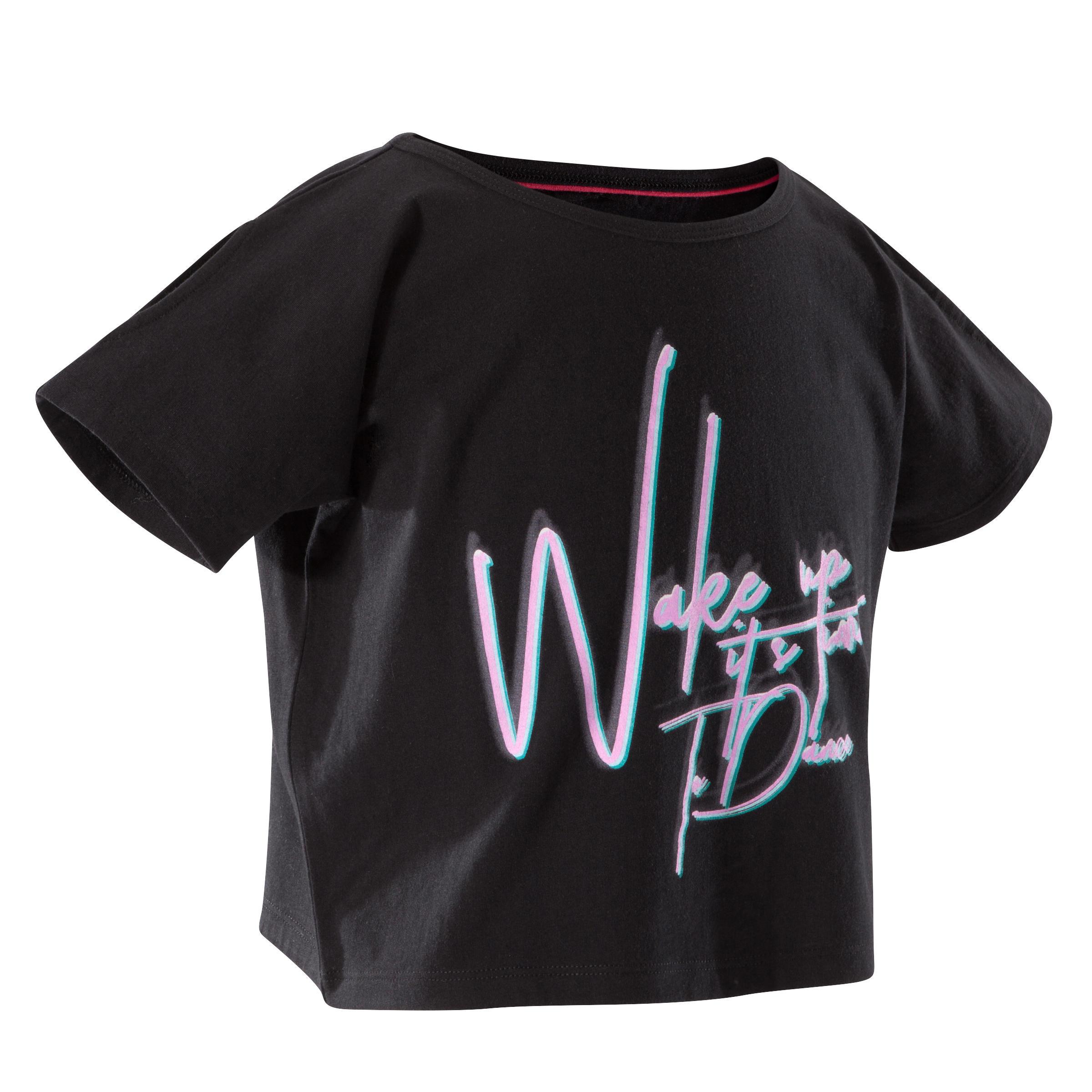 Girls' Short Loose Short-Sleeved Dance T-Shirt - Black