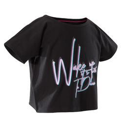 Kort en wijd dans T-shirt met korte mouwen voor meisjes zwart