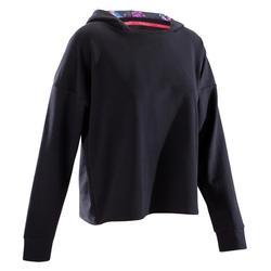 Tanz-Sweatshirt mit Kapuze Damen schwarz