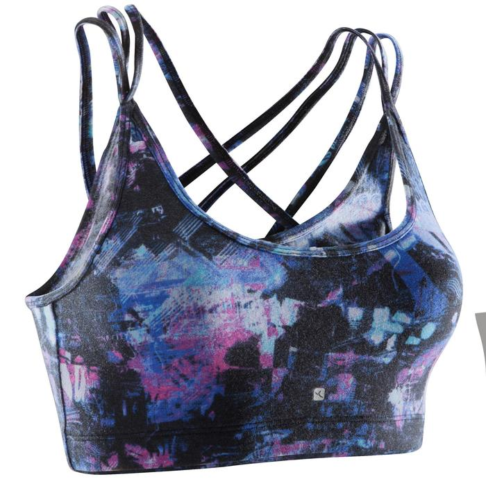 Women's Dance Crop Top with Thin Crossed Straps - Black