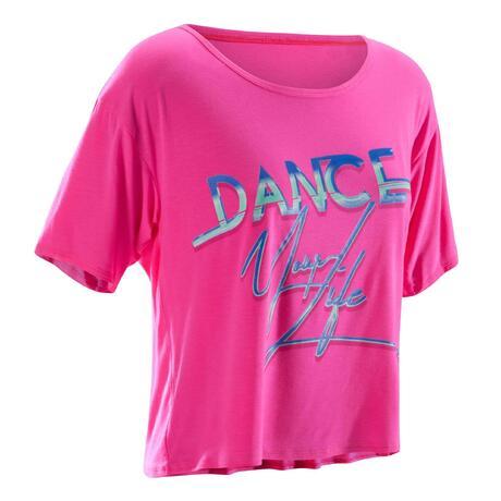 Tee-shirt court danse femme rose fuchsia  647c557e4f9