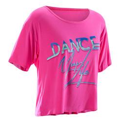 T-shirt court de danse femme rose fuchsia.
