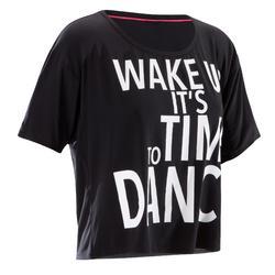 Women's Cropped Dance T-Shirt - Black