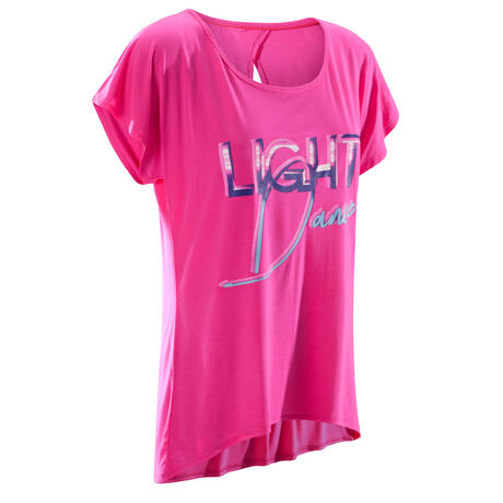 T-shirt manches courtes de danse femme fuchsia  6d45673027d