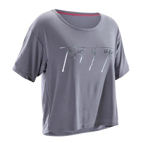 T-shirt court de danse femme gris.   Domyos by Decathlon db41c60f6f1e