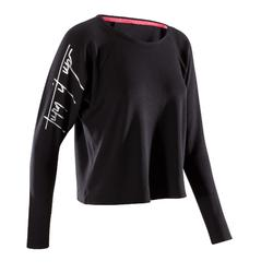 T-Shirt Tanzen Langarm Damen schwarz